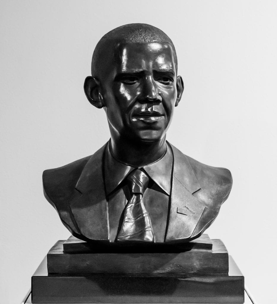 Bronze bust of President Barack Obama by artist Matthew Gonzalez donated to the permanent collection of the Hutchins Center for African and African American Research by the artist Carrie Mae Weems.